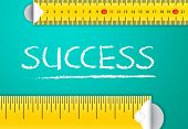 Measuring Business Success and Achievement Concept. Two different tape measuring success word with chalk with metric system and imperial units, flat design. Various way of measuring success in business and sales. poster