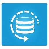 restore and data backup symbol in blue square button poster