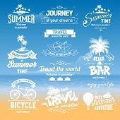 Set of hand drawn design elements for Summer calligraphic compositions. Vintage style. Best for Summer holidays, travel advertising, tropical paradise, weekend tour, beach vacation, adventure labels.  poster