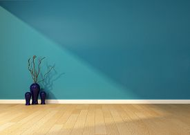 empty interior with a blue wall and vase. 3D rendering