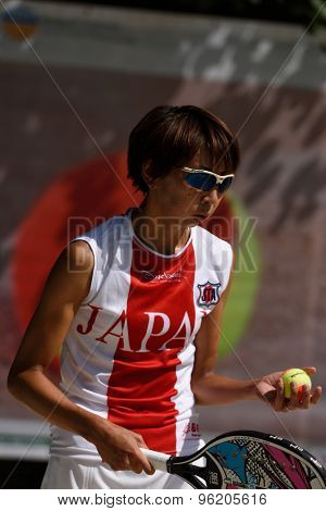 MOSCOW, RUSSIA - JULY 15, 2015: Kaori Yanase of Japan in action during the ITF Beach Tennis World Team Championship. 28 nations compete in the event this year