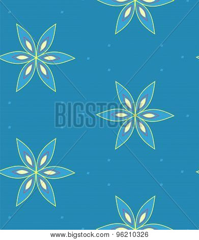 Multicolor geometric flower pattern on blue background, seamless