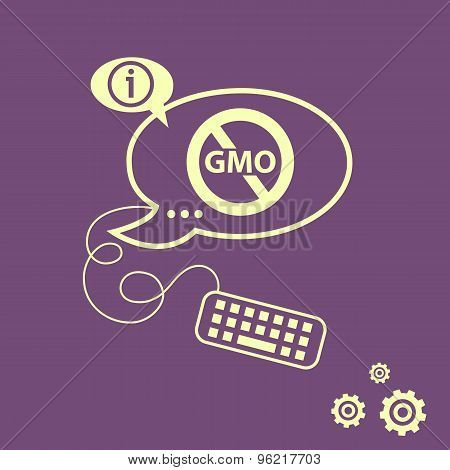Stop Gmo. Without Genetically Modified Food Symbol.  No Gmo Sign Icon And Keyboard Design Elements.