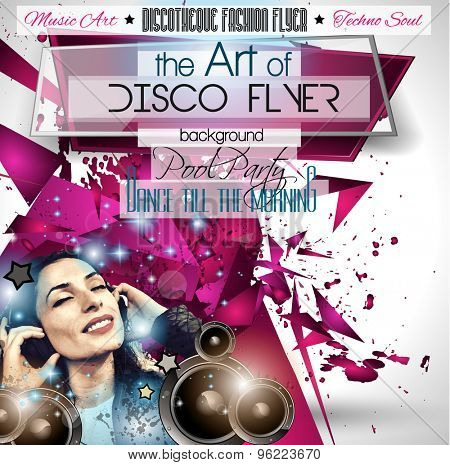 Club Disco Flyer Set with DJ girl and Colorful Scalable backgrounds. A lot of diffente style flyer for your techno, hip hop, electro or metal  music event Posters and advertising