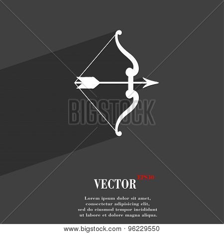 Bow And Arrow Icon Symbol Flat Modern Web Design With Long Shadow And Space For Your Text. Vector
