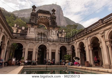 Courtyard of the mansion of Parque Lage in Rio de Janeiro, Brazil