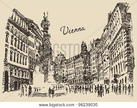 Streets in Vienna Austria hand drawn illustration