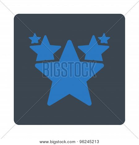 Hit parade icon from Award Buttons OverColor Set. Icon style is smooth blue colors, flat rounded square button, white background. poster