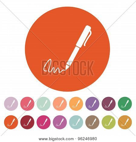 The signature icon. Pen and undersign, underwrite, ratify symbol. Flat
