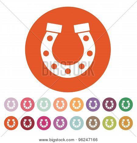 The horseshoe icon. Horse and races symbol. Flat