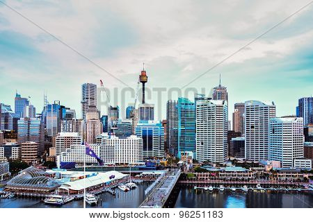 Sydney, Australia - July 20, 2015 : Night Scene Of Darling Harbour