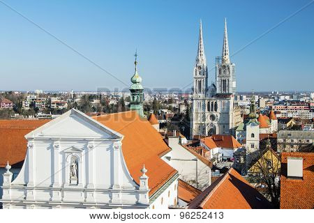 Zagreb cathedral and St Catherine church from Upper town poster