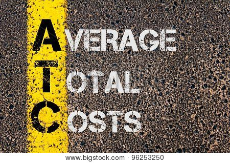 Concept image of Business Acronym ATC as Average Total Costs written over road marking yellow paint line. poster