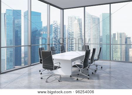 Panoramic Conference Room In Modern Office In Singapore. Black Chairs And A White Table. 3D Renderin
