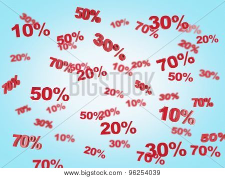 The Concept Of The Discount And Sale. Collection Of Discount Numbers 10% 20% 30% 50% 70%. Blue Backg