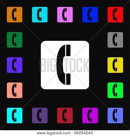 Handset Iconi Sign. Lots Of Colorful Symbols For Your Design. Vector