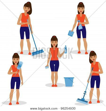 Girl With Simple Tools For Cleaning