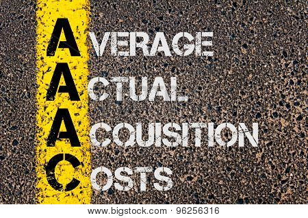 Concept image of Business Acronym AAAC as Average Actual Acquisition Costs written over road marking yellow paint line. poster