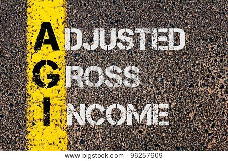 Concept image of Business Acronym AGI as Adjusted Gross Income written over road marking yellow paint line. poster