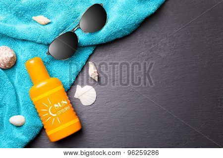 summer beach background with sun glasses