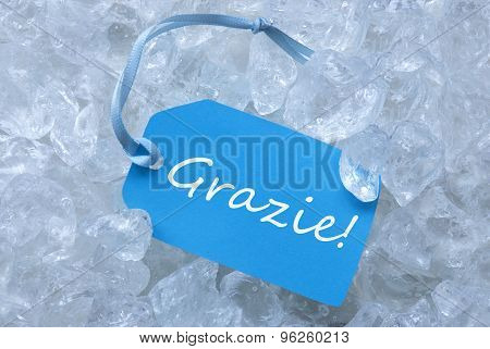 Label On Ice With Grazie Means Thank You