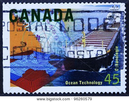 Ship on a postage stamp
