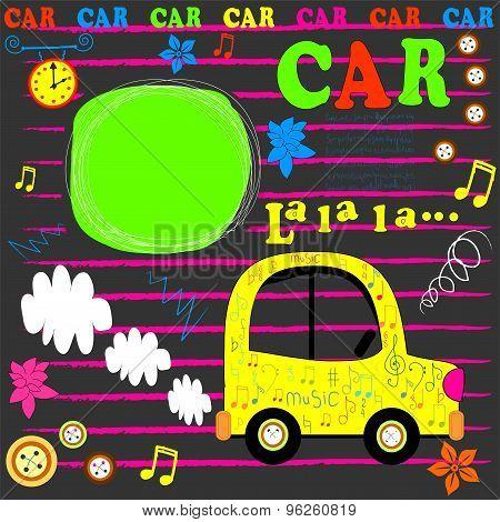 happy birthday card   flat design car