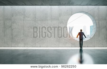 Blank interior with window and man.