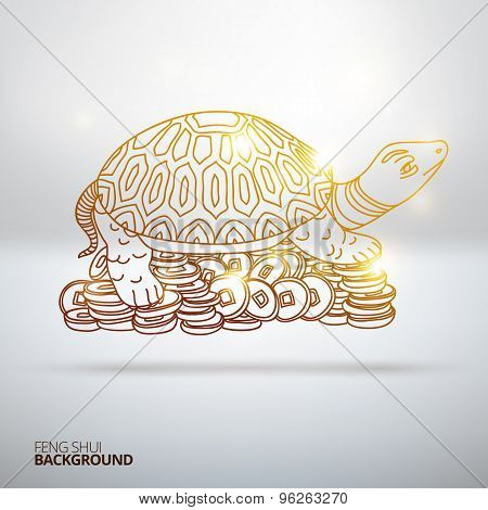 Vector illustration with Feng Shui turtle.