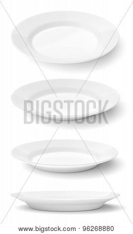 Empty Ceramic Round Plates Isolated On White