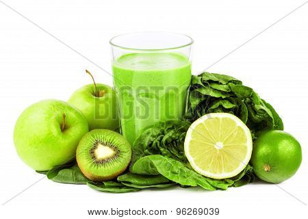 green smoothie with fruits and vegetables on white background