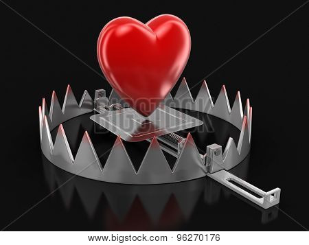 Trap and heart (clipping path included)