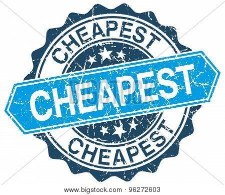 Cheapest Blue Round Grunge Stamp On White