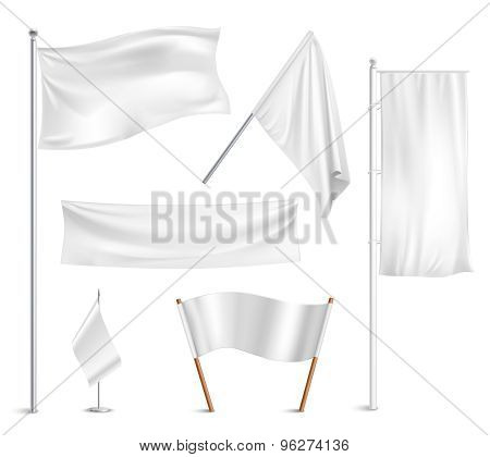 White flags pictograms collection