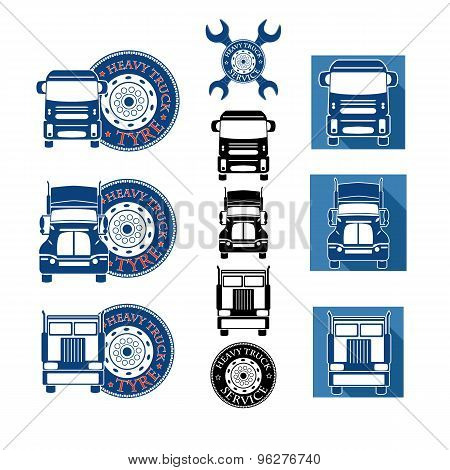 Vector Illustration Set Heavy Truck Automobile Service