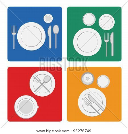 Vector Illustration Tableware Serving With Dinnerware And Glass