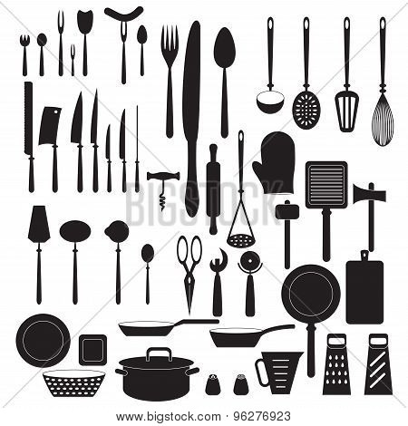 Kitchen tool icons set. Vector silhouettes