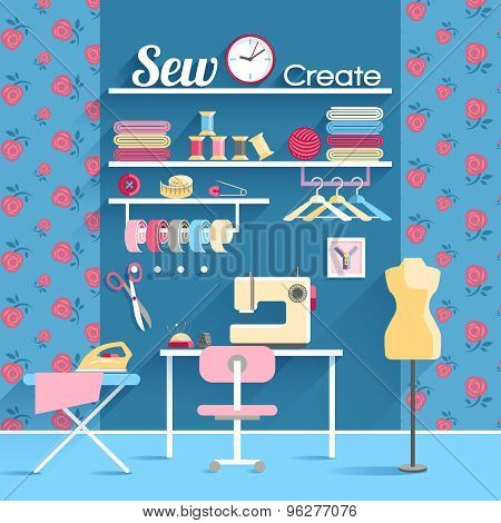 Sewing room concept design poster