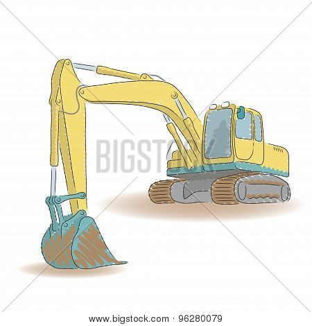 Excavator isolated on white background, vector illustration