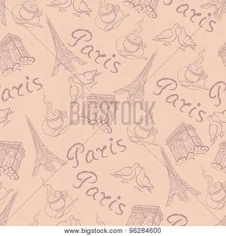 Vector Background With The Sights Of Paris Vintage Style
