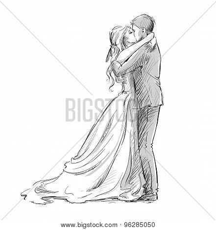 Wedding couple kiss. Newlywed.  Vector sketch.