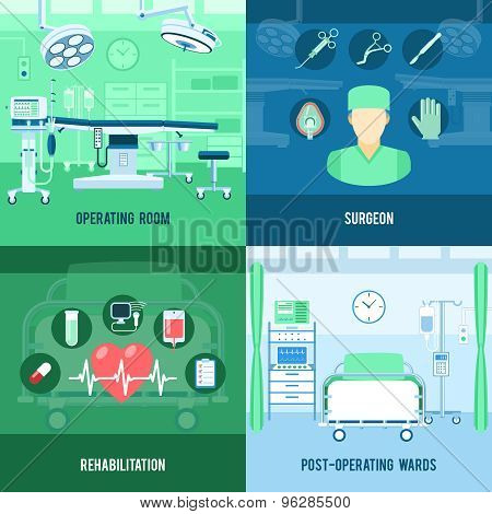 Surgery 4 flat square icons banner