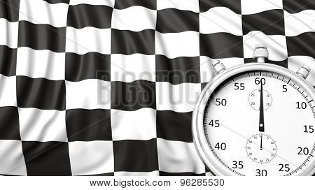 Stopwatch with waving checkered racing flag