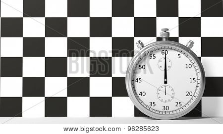Stopwatch with checkered racing flag