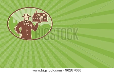 Business Card Realtor Real Estate Salesman House Retro