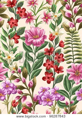 Floral seamless pattern with beauty flowers on beige background in watercolor style
