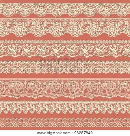 Collection of beige borders stylized like laces