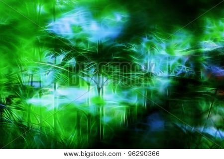 Stylized tropical jungle forest background.