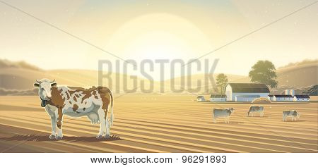 Rural landscape with cow, can be used as a background image.
