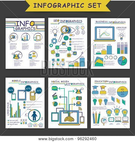 Set of different infographic templates as SEO Infographics, Business Infographics, Mobile Infographics, Social Media Infographics and Education Infographic.